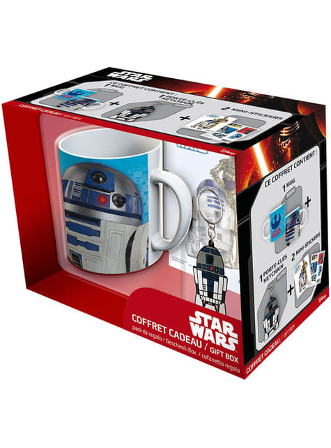 Coffret cadeau R2D2: tasse, porte-clés et stickers - Star Wars
