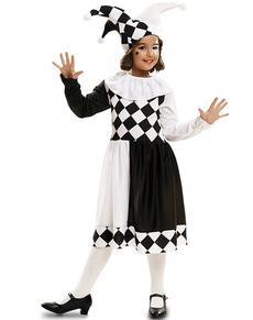 Disfraz de arlequina blanca y negra para niña