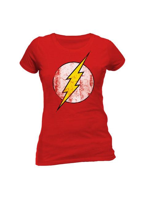 T-shirt de Flash Distressed Logo vermelha para mulher