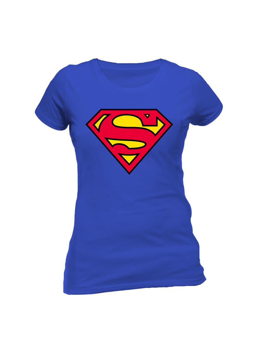 t shirt superman classic logo femme pour les vrais fans. Black Bedroom Furniture Sets. Home Design Ideas