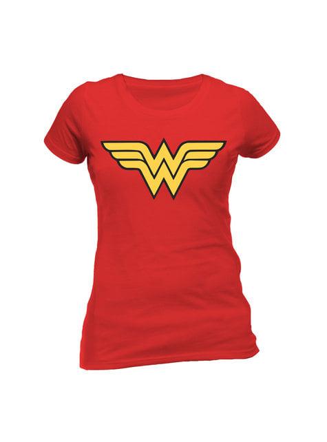 Camiseta de Wonder Woman Logo roja para mujer