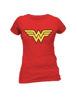 Punainen Wonder Woman logo t-paita naisille