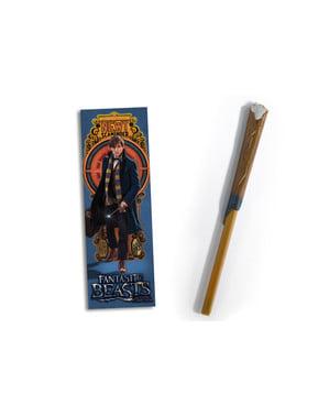 Varita bolígrafo y marcapáginas de Newt Scamander - Animales Fantásticos