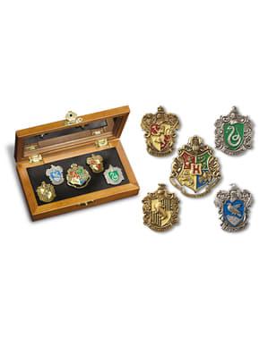 Krabička odznaků s erby kolejí z Bradavic Harry Potter