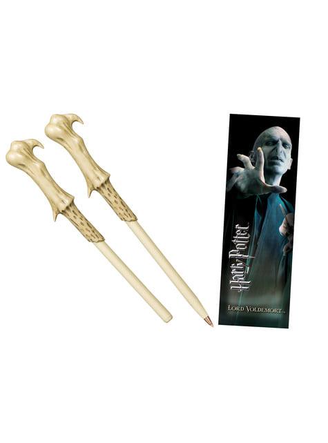 Juego bolígrafo varita y marcapáginas Voldemort Harry Potter