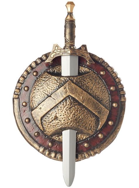Spartalainen taistelukilpi ja miekka