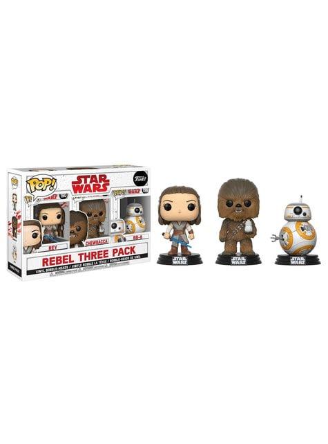 Funko POP! 3-Pack: Rey, Chewbacca avec Porg et Bb-8 - Star Wars: Les Derniers Jedi