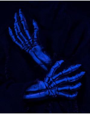 Blauwe gloed skelet UV-handschoenen voor volwassenen