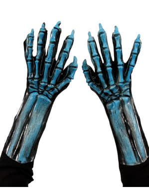Luvas de esqueleto azuis com brilho UV para adulto