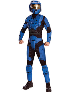 Halo Blå Spartan Deluxe maskeraddräkt