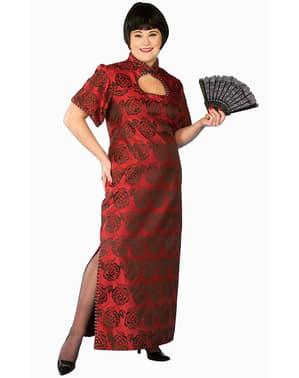Chinesin Kostüm Rot große Größe