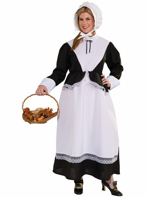 Disfraz de campesina colonial americana talla grande