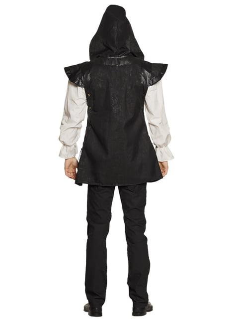 Fato de guerreiro medieval em preto para homem