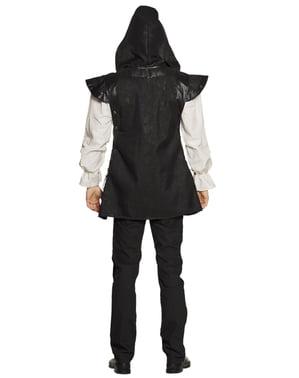 Zwart middeleeuws strijder kostuum voor mannen