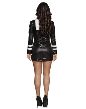 Disfraz de piloto negro para mujer