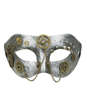 Sølv Steampunk øyemaske med tannhjul til voksne