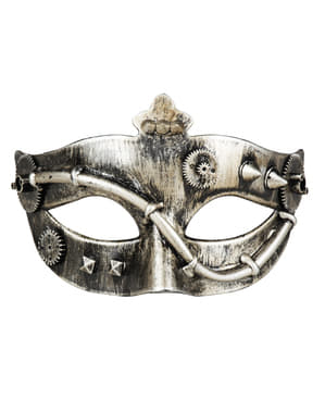 Gold Steampunk eye mask with cogs for adults