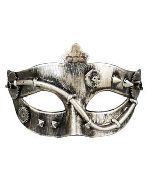 Guld Steampunk maske med tandhjul til voksne