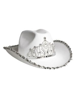 Cappello da cow boy bianco e argentato per adulto