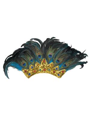 Accesoriu de carnaval pentru cap cu pene de păun pentru adult
