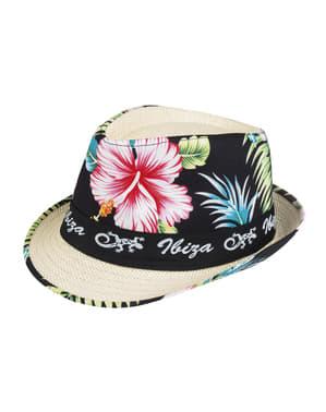 Sombrero de Ibiza con flores para adulto