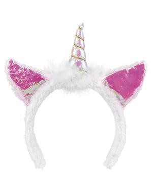 Diadema de unicornio blanco para adulto