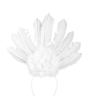 White Brazilian carnival headband for women