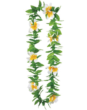 Colar havaiano verde com flores