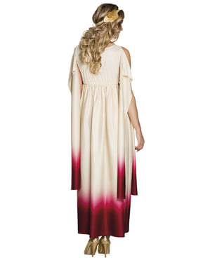 Costum de zeiță greacă alb și roz pentru femeie
