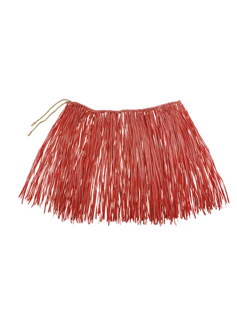 Falda hawaiana roja para adulto