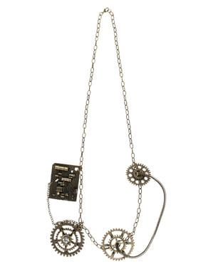 Collar steampunk de engranajes dorados