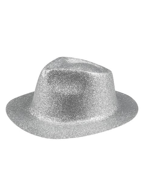 Sombrero de nochevieja plateado para adulto