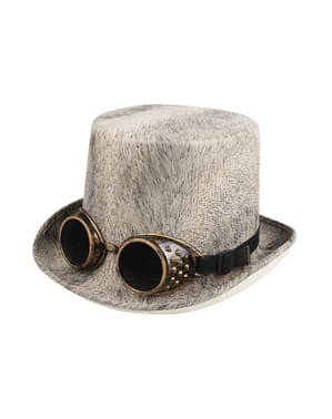 Beige Steampunk hat for adults