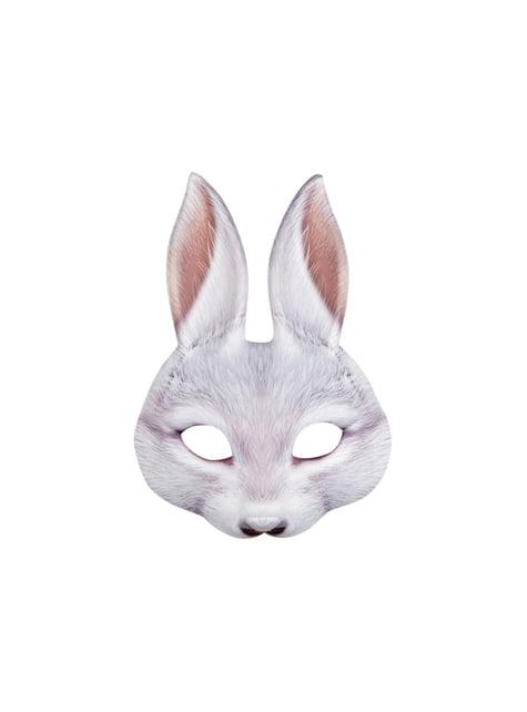 Media máscara de conejo gris para adulto