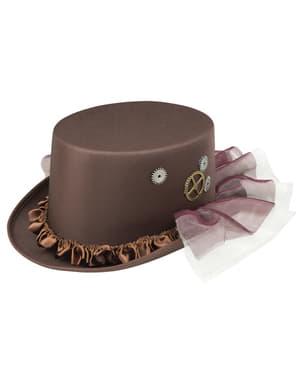 Klasyczny brązowy kapelusz w stylu Steampunk dla dorosłych