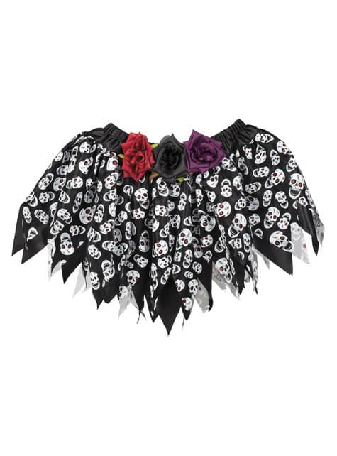 Falda de día de los muertos negra para mujer