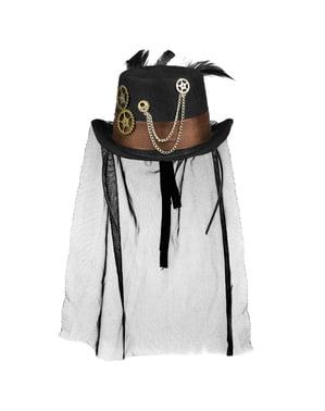 Czarny kapelusik w stylu Steampunk z trybikami dla dorosłych