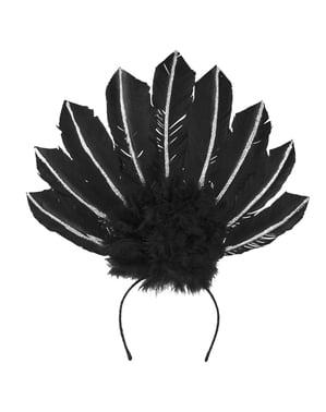 Brasilianisches Karnevals-Diadem schwarz für Damen