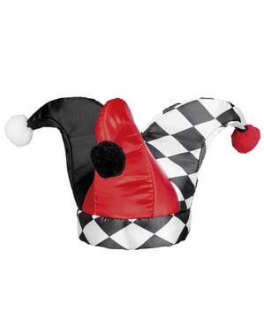 Czarno-czerwona czapka arlekina dla dorosłych