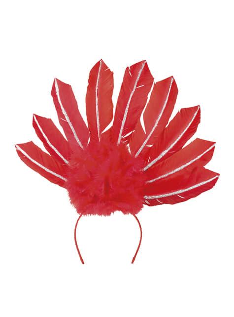 Tiara de carnaval brasileño roja para mujer