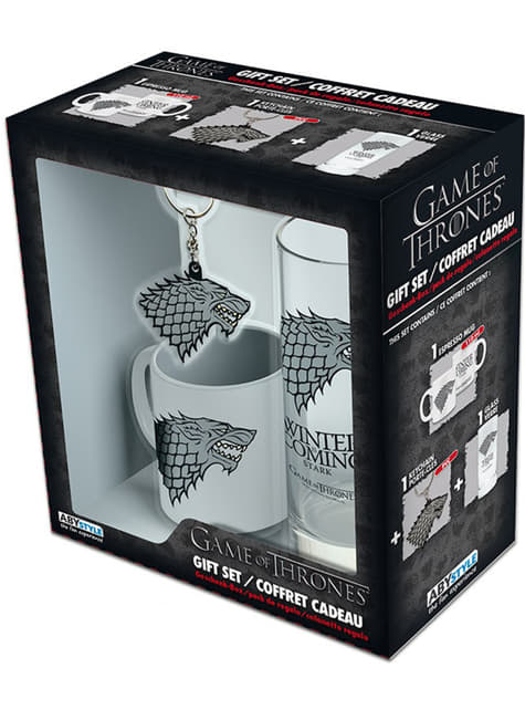 Pack presente Stark deluxe: copo, caneca e porta-chaves - Game of Thrones