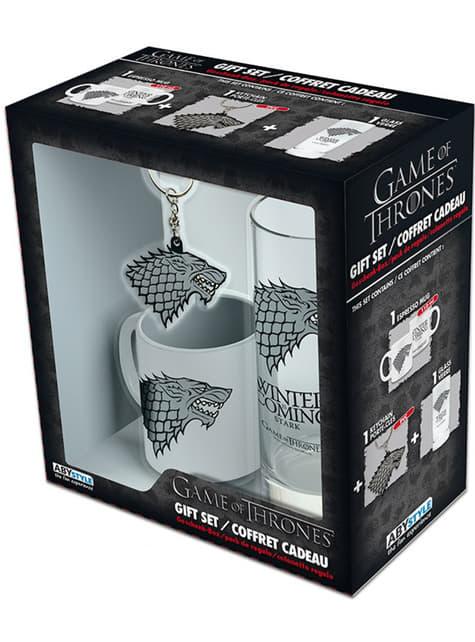 Pack regalo Stark deluxe: vaso, taza y llavero - Juego de Tronos