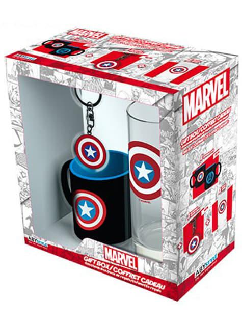 Pack presente deluxe: copo, caneca e porta-chaves – Capitão América