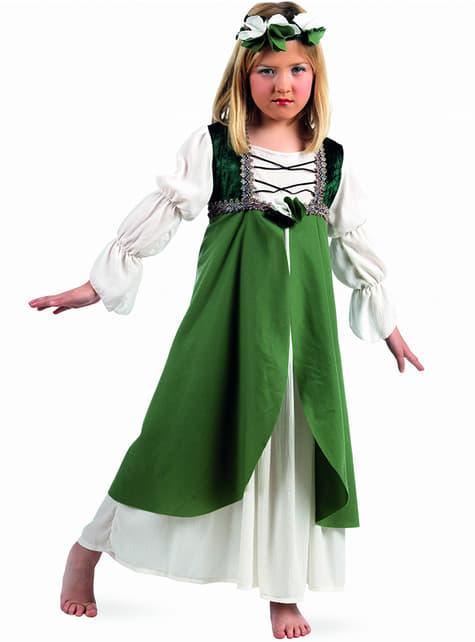 Groene Middeleeuwse jurk voor meisjes
