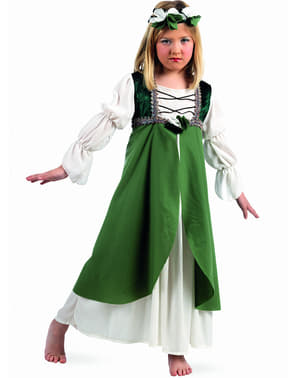 Costume medievale Clarissa verde per bambina