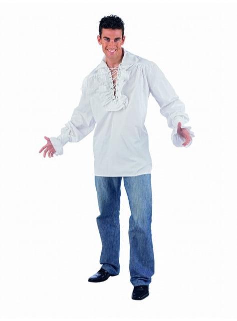 Witte blouse met veters voor mannen
