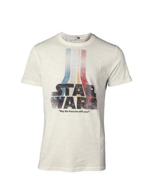 T-shirt Logo Star Wars Retro colorido para homem