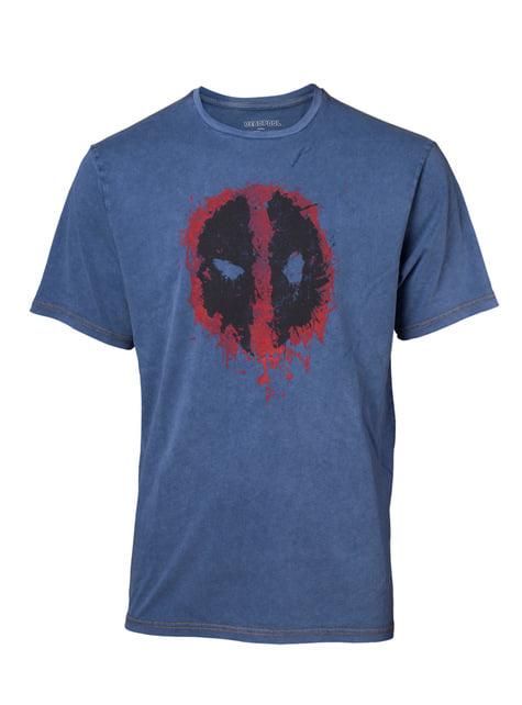 Koszulka denim logo Deadpool dla mężczyzn - Marvel