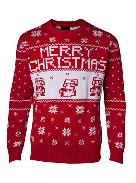 Jersey navideño de Mario rojo para hombre