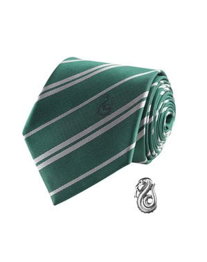 Slytherin Krawatte und Button Set deluxe - Harry Potter